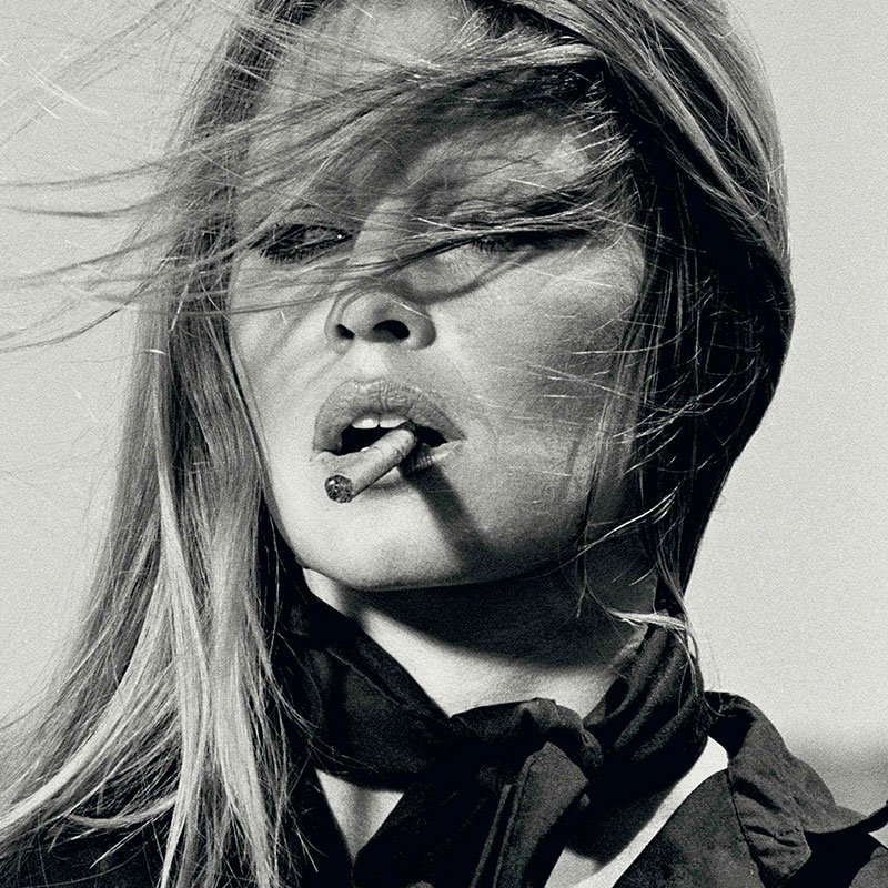Terry ONeill Brigitte Bardot with cigar Spain 1971 featured