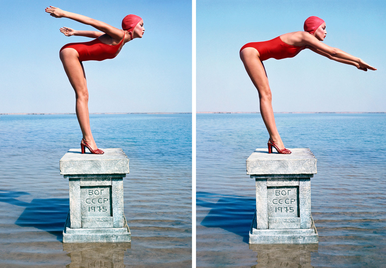 Norman Parkinson Jerry Hall Russia Vogue 1975 Diptych