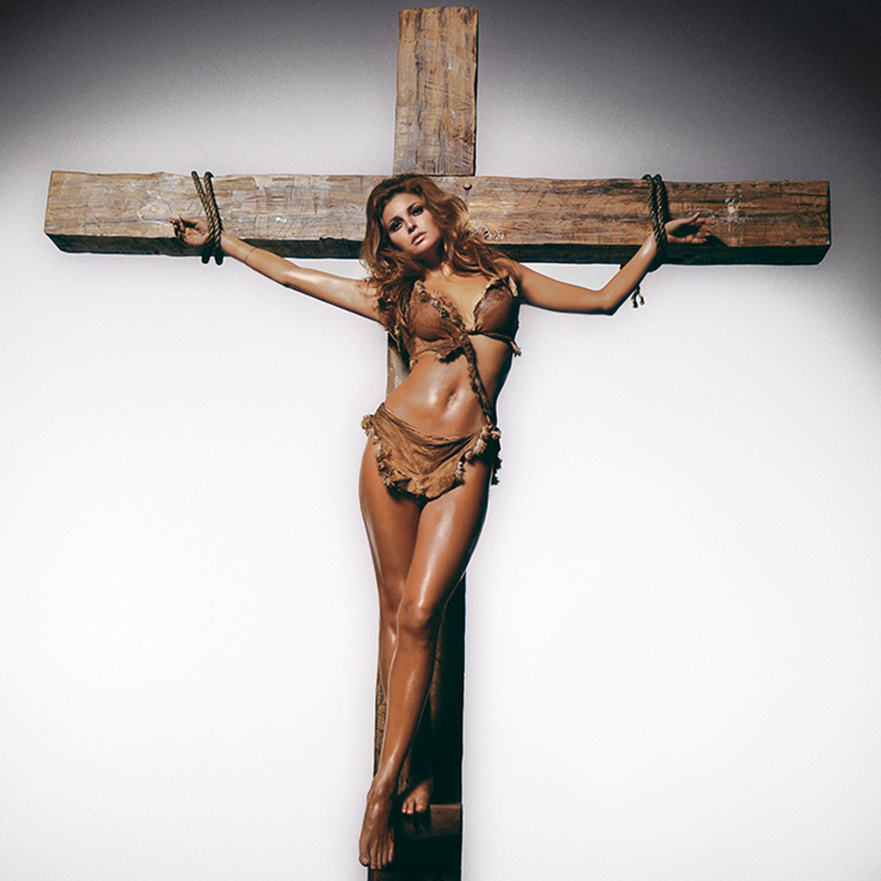 Terry ONeill Raquel Welch on the Cross Los Angeles 1970 featured