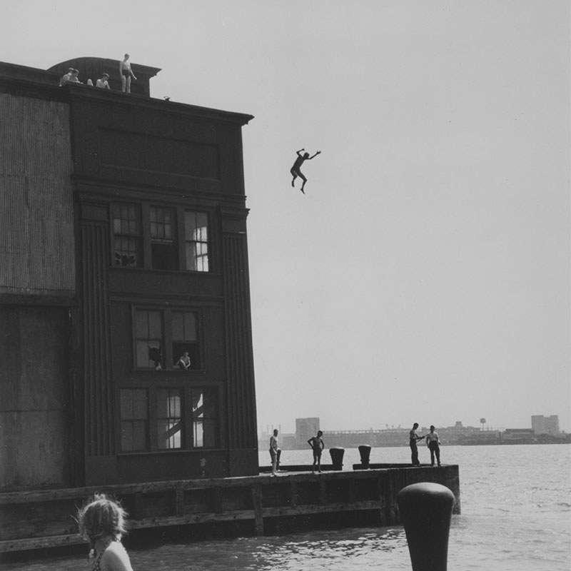 Ruth Orkin Boy Jumping into the Hudson River New York City 1948 featured