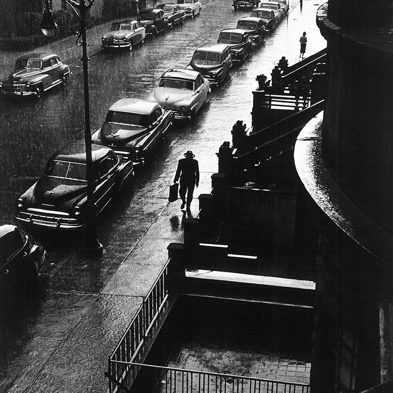 Ruth Orkin Man in Rain West 88th Street New York City 1952 featured
