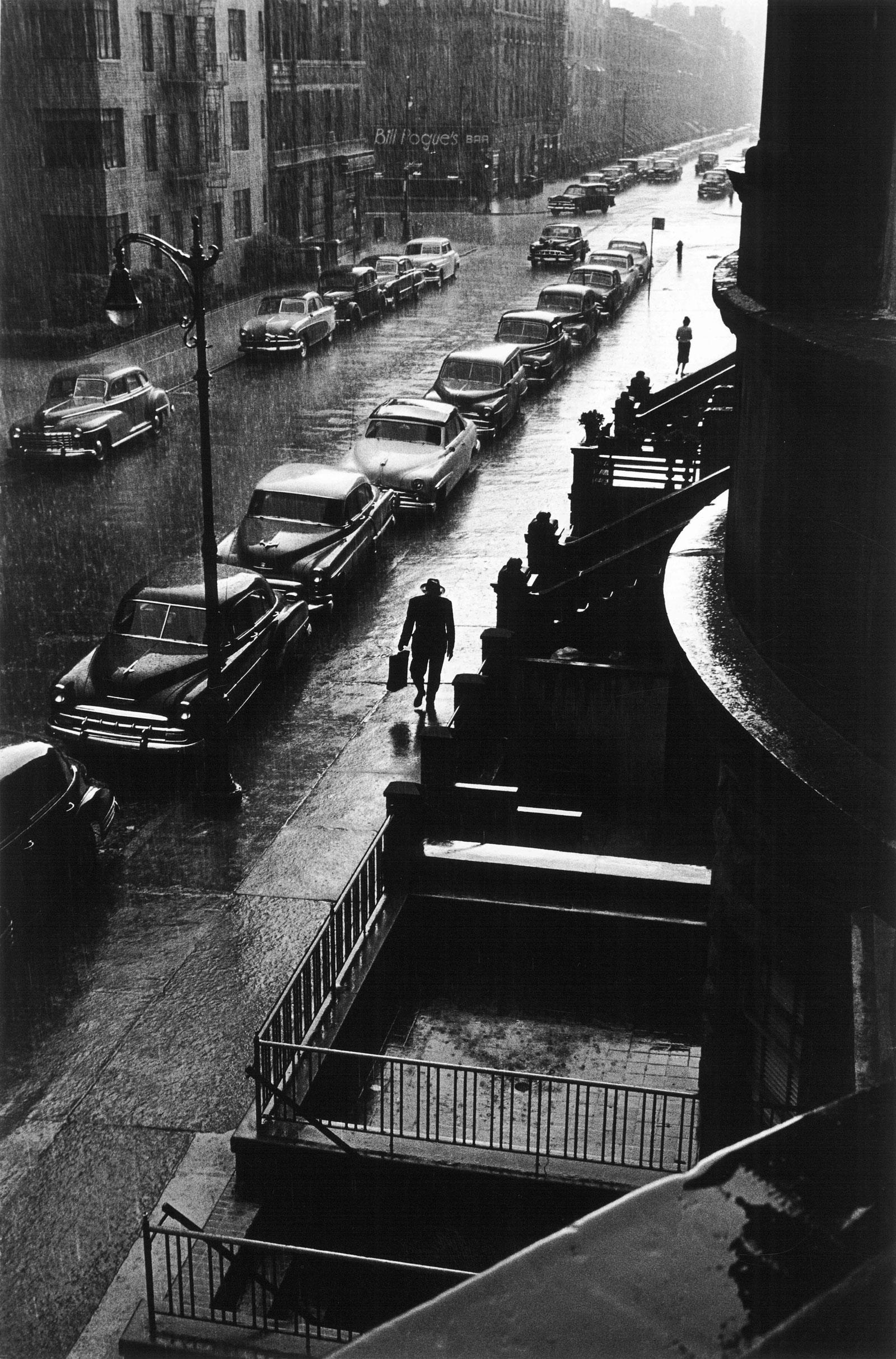 Ruth Orkin Man in Rain West 88th Street New York City 1952