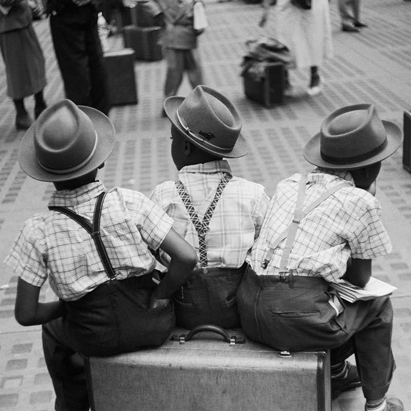 Ruth Orkin Three Boys on Suitcases Penn Station New York City 1948 featured